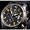 Parnis Black Dial Orange Marks Vintage Style Day Date Quartz Full Chronograph Mens Watch 22