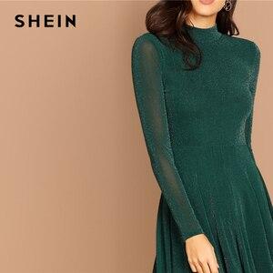 Image 5 - SHEIN Yeşil Parti Katı Mock Boyun Glitter Fit Ve Flare Standı Yaka uzun kollu elbise Sonbahar Kadın Zarif Elbiseler