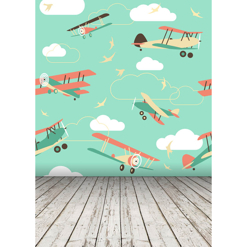Thin fabric cloth Printed Vinyl photography backdrops Airplane Portrait Newborns Background 5ft x 7ft  D-2731