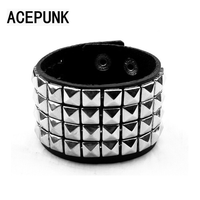 Hip Hop Shining Wide Bracelet Punk Rivet Leather Bracelets Rock 4 Rows Of 9MM Square Nails Wristband Three Buckle Adjustable