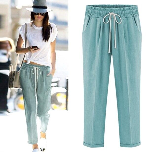 Woman clothing loose pants black Elastic waistline ankle length trousers  100% cotton harem pants plus 0d99fe5ae79d