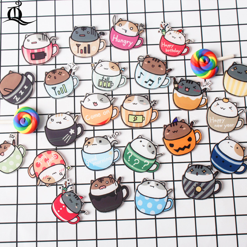 1 PCS Mix The Cat Cups Cartoon Mix Dog For Clothing Acrylic Badges Kawaii Icons On The Backpack Pin Brooch Badge Z67