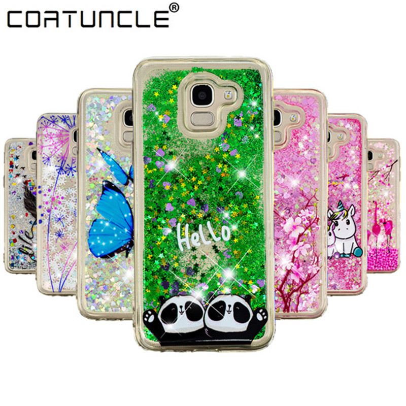J6 2018 Silicone Case on For Fundas Samsung Galaxy J6 2018 Case Liquid Glitter Soft Cover For Coque Samsung J6 2018 Phone Cases