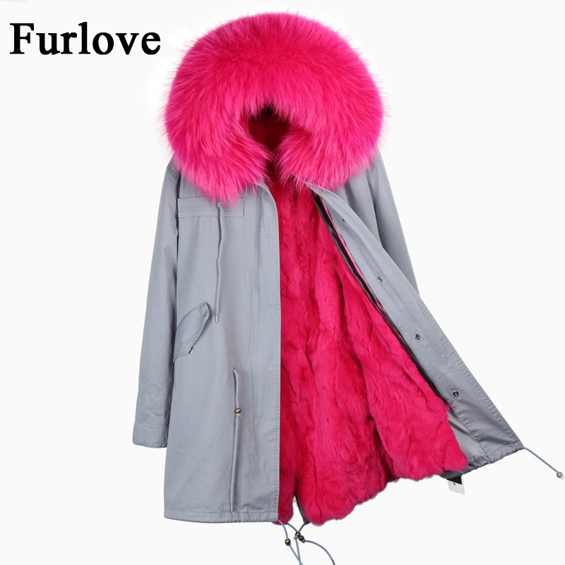 Customize winter jacket women parka raccoon fur collar thick hooded parkas long warm coats real rabbit fur coat womens jackets 2017 winter new clothes to overcome the coat of women in the long reed rabbit hair fur fur coat fox raccoon fur collar
