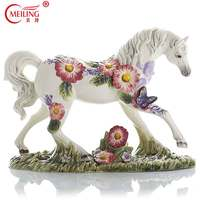 Handpainted Collectible Ceramic Horse Anime Figurine Art Piece Porcelain Animal Statue Sculpture For Living Room Home Decoration