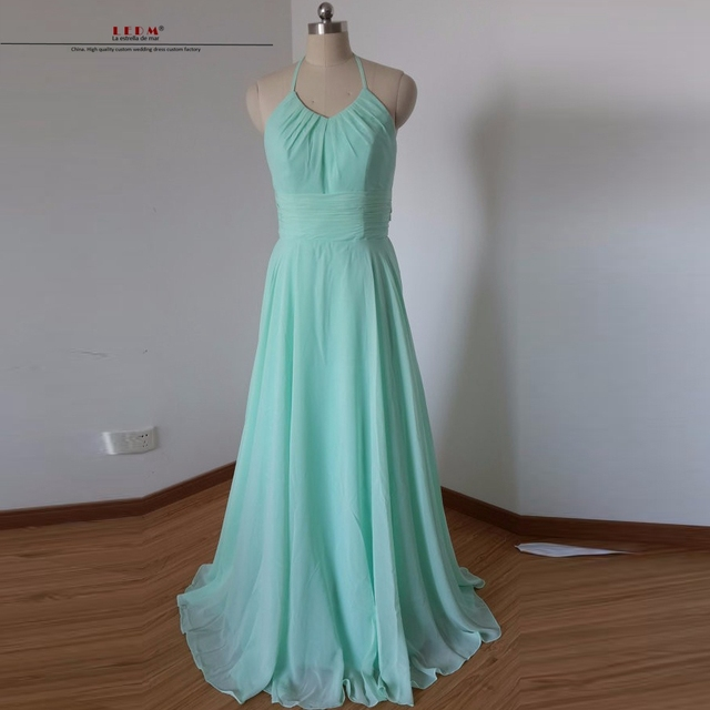 Vestido longo festa casamento madrinha 2018 new chiffon Halter a line mint  green bridesmaid dresses long real photo plus size 5f8d97126458