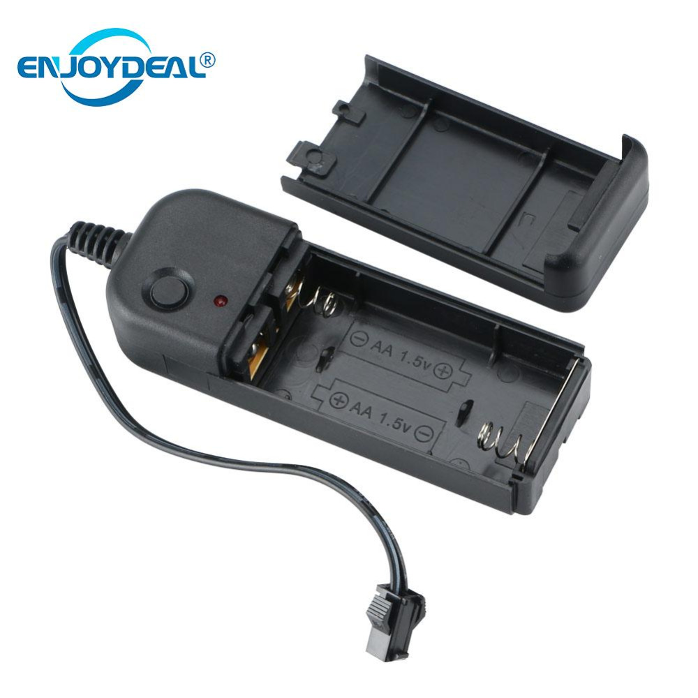 Enjoydeal Portable EL Wire Driver Light Battery Controller Converter 1-5M Neon Glowing Chasing Strip Light El Wire Driver DC 3V