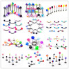 50 OFF Wholesale Jewelry Lots Mixed Color 210pcs Body Jewelry Eyebrow Bar Rings Piercing Free Shipping