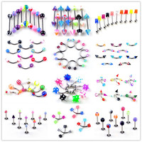 New 210pcs Lots Mixed Style Stainless Steel Eyebrow Navel Belly Lip Tongue Nose Piercing Bar Ring Wholesale Jewelry Body Jewelry