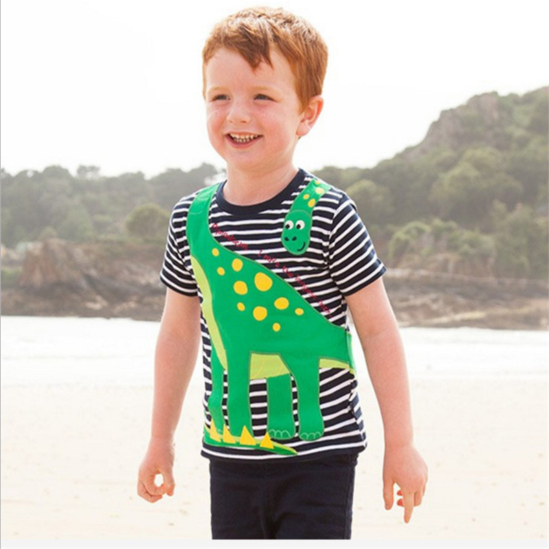Baby boys new designed cartoon t shirts boys short sleeve summer clothing with printed a cartoon dinosaur top quality kids tees