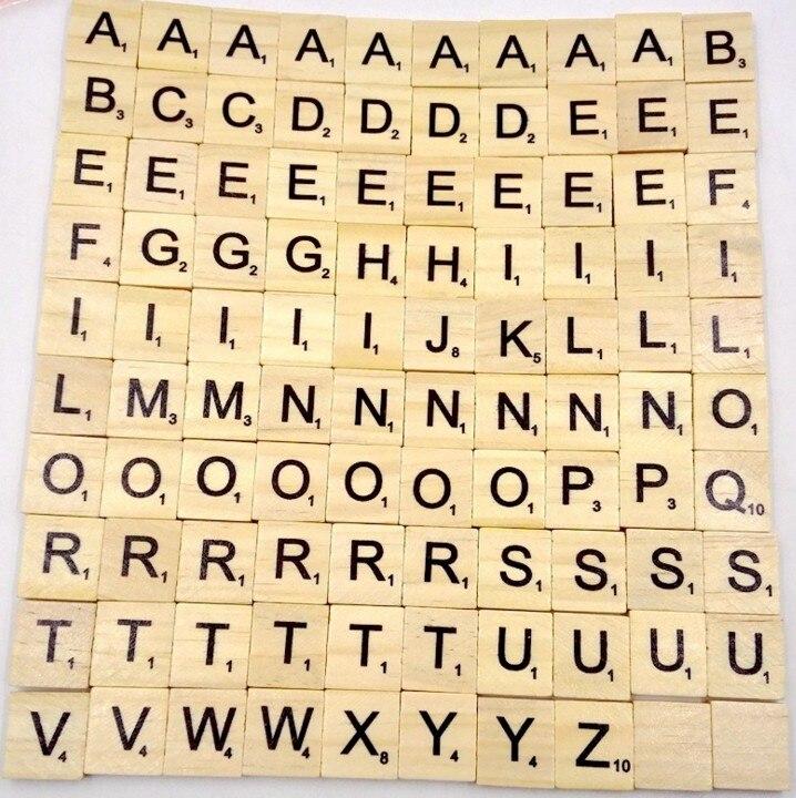 100Pcs Wooden Alphabet Crafts Scrabble Childhood Jigsaw Puzzle Letters Chips Numbers Scrabble ...