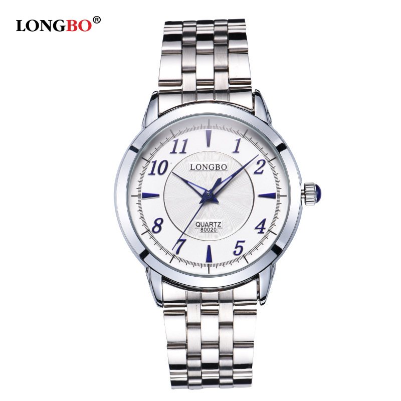 LongBo Fashion Bradn Men Lady Couple Full Stainless Steel Watches Luminous Waterproof Leisure Lovers Students Wholesale Clock