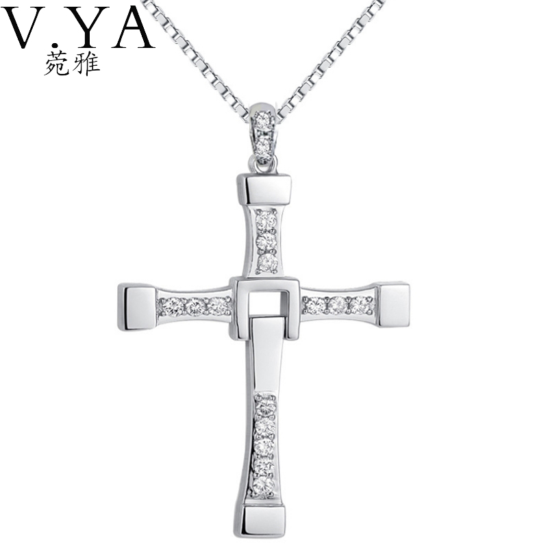 Pure S925 Silver CZ Crystal Cubic Zircon Cross Pendants 100% Real 925 Sterling Silver Pendant Necklaces for Women Jewelry CP148