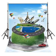 150x220cm The World Famous Buidings with Earth Backdrop Blue Sky Designed Photography Background
