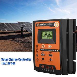 Image 3 - Şarj regülatörü 12V 24V 30A 50A 70A MPPT Solar şarj regülatörü güneş paneli bataryası regülatörü çift USB LCD ekran