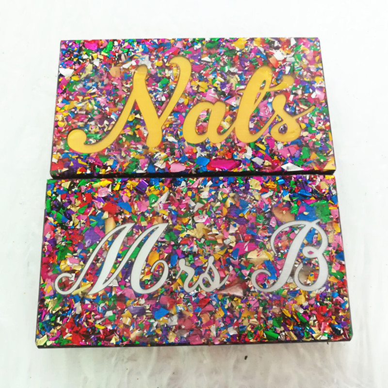 2018 acrylique personnalisé boîte aux lettres embrayage produits promotionnels votre Logo conception Logo impression nom boîte embrayages acrylique nom sacs