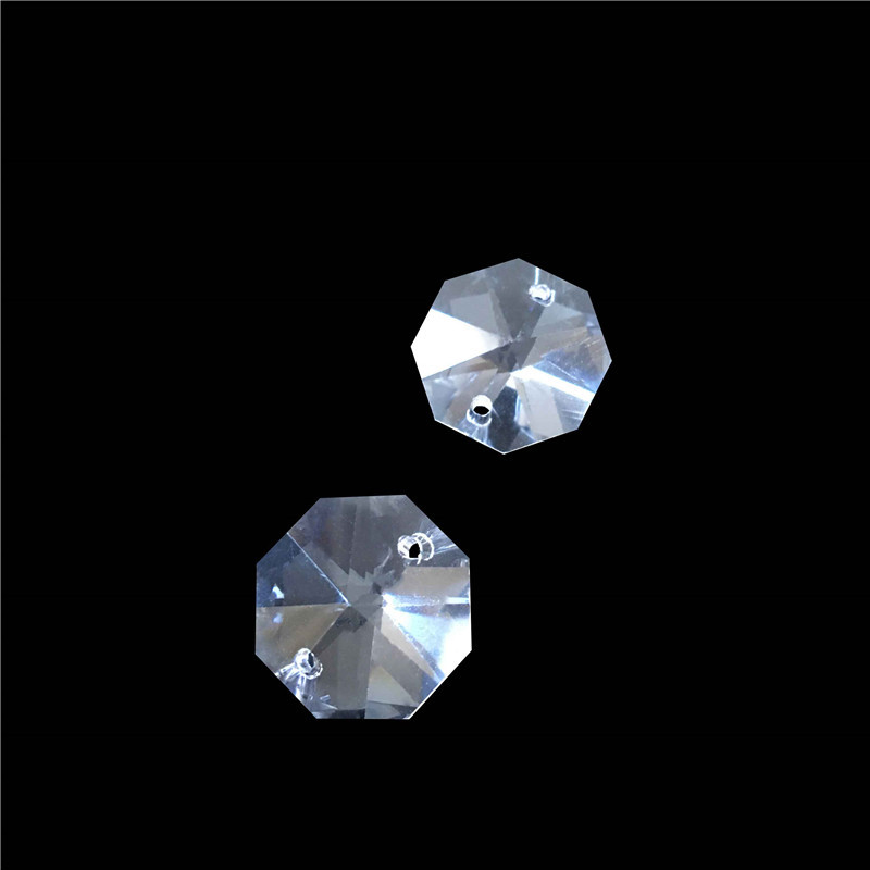 100pcs Lot 30mm Crystal Glass Chandelier Octagon Beads In 2 Holes Glass Prism Beads Home Decoration