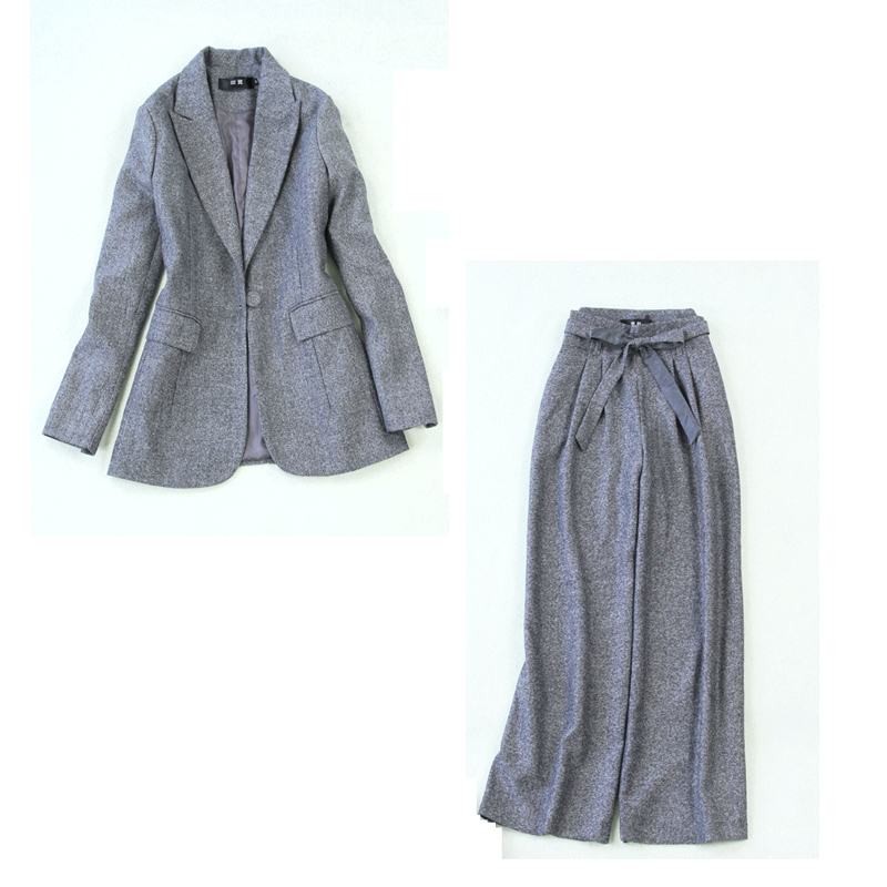 Women's Suits 2019 Autumn And Winter New Large Size Gray Herringbone Long-sleeved Slim Suit High Waist Wide Leg Pants Suit