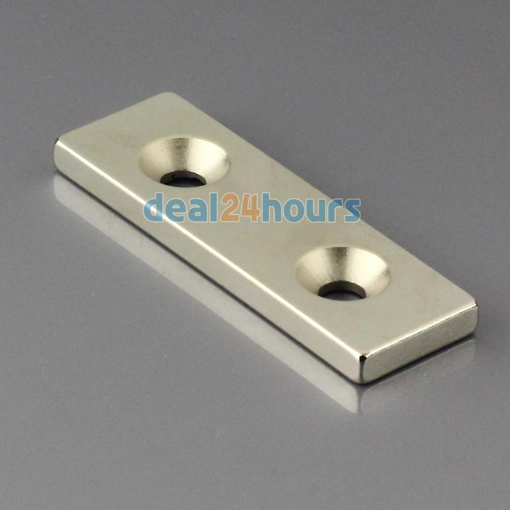 1 St Grote N50 Super Sterke Block Cuboid Neodymium Magneten 60x20x5mm 2 Verzonken Gat 5mm Zeldzame Aarde Omo Magnetics! Punctual Timing