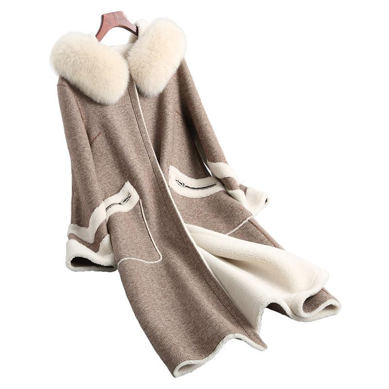 Femmes Manteaux Vintage Casaco Fourrure Zl420 Vêtements Feminino 2018 À Longue Col Light Capuchon Veste Réel Chaud Fox 100 Laine Automne Camel De Manteau Hiver HqYCxFvw