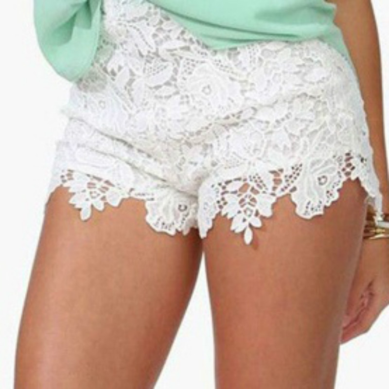 2018 New Women Girl Korean Sweet Cute Crochet Tiered Lace Shorts Ladies Short Pants