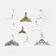 1Pack Antique Silver Tibetan Whale Mermaid Tail Charms Pendant For DIY Bracelet Necklace Jewelry Findigns Making