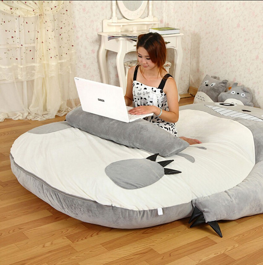 Us 134 1 10 Off Large Matelas Totoro Single And Double Bed Giant Totoro Bed Mattress Cushion Plush Mattress Pad Tatami Cushion Beanbag 5 Sizes In