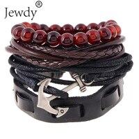 4 PCS 1 Set Punk Genuine Wrap Leather Bracelets Men for Women Stone Beads Charm Anchor Multi Bracelets Cuff Jewelry Accessories
