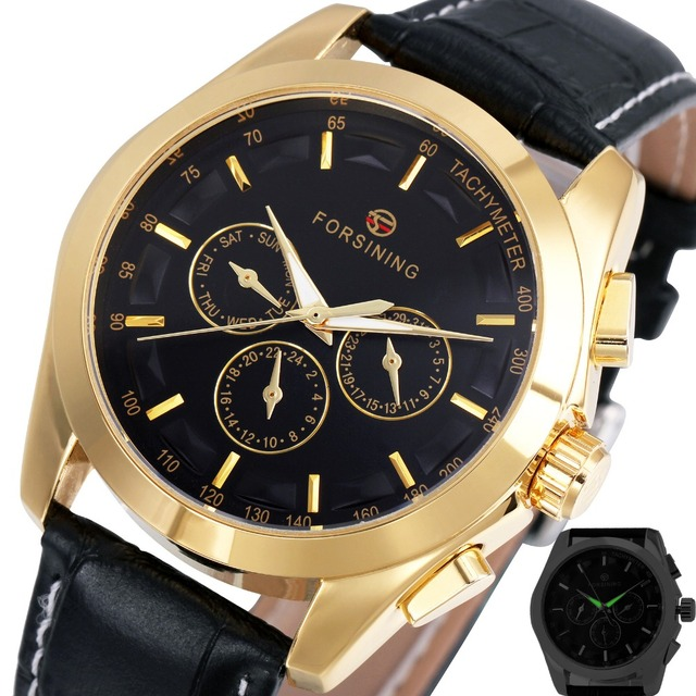 b6f3ce1abd1 2017 WINNER Men Luxury Automatic Mechanical Watches Leather Watch Strap 3  Sub-dials Golden Case