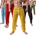 Men Pajamas Hollow Out Long Pants Casual Interest Sexy breathable Tracksuit Stretch Hollow Trouser [Not Including the Panties]