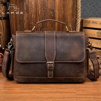 LAPOE 2018 Новый Для мужчин сумка Винтаж из натуральной кожи Для мужчин сумка бренд Винтаж Crossbody сумки мужской Портфели Бизнес сумка