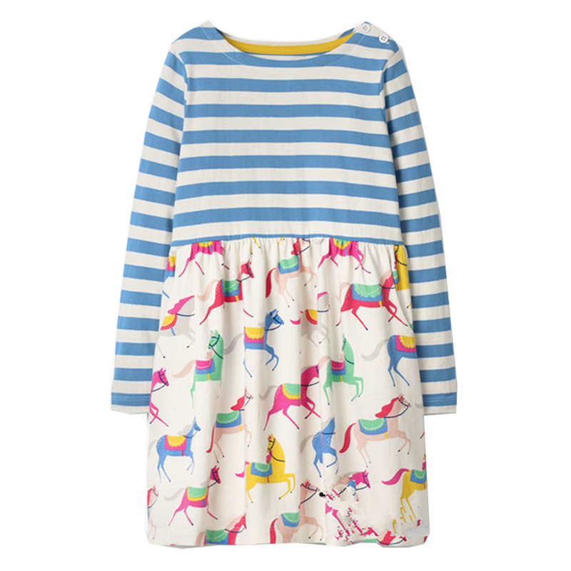 Jumping Meters Long Sleeve Girl Dress Princess Costume for Kids Tunic Jersey Robe Fille Baby Girls Clothes Children Horse Dress new year girl dress princess costume long sleeve christmas dresses red kids clothes flower bow robe fille children vestido 4 11y