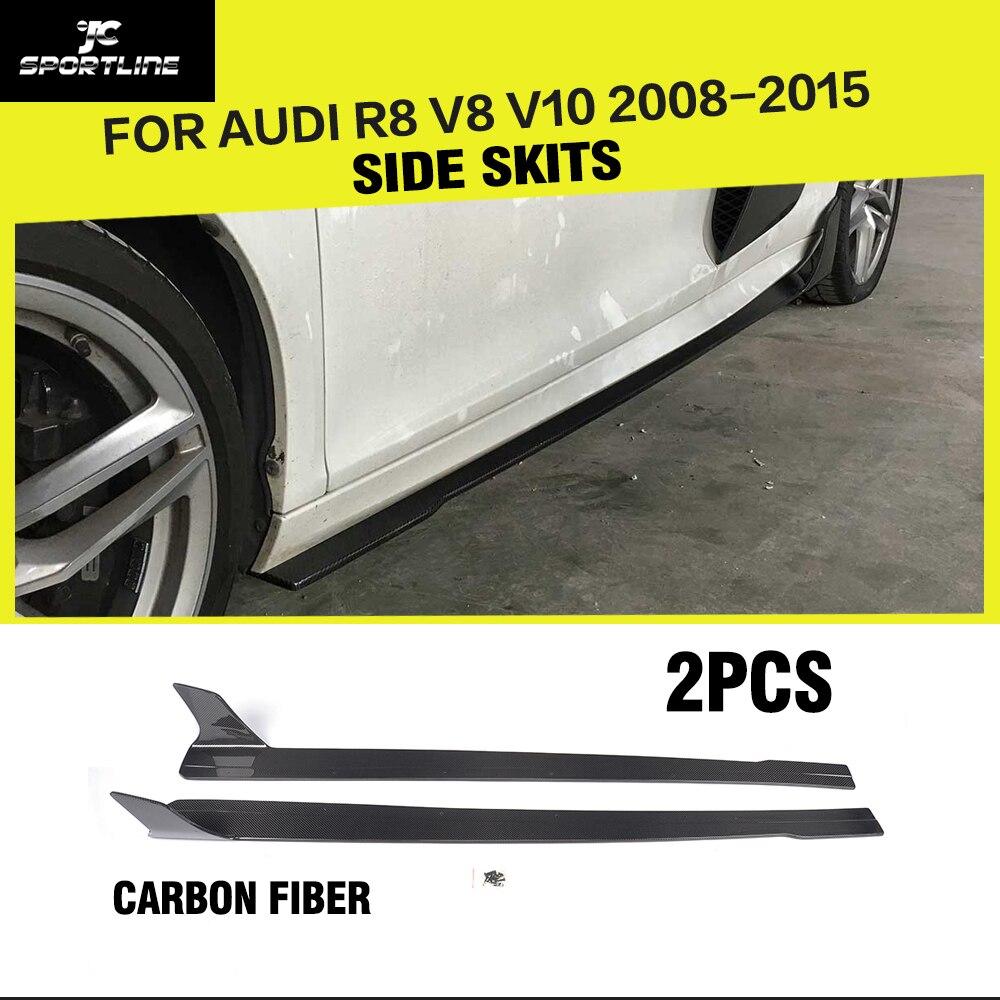Voiture-Style fibre de Carbone Racing Porte Côté Jupes Extension À Lèvres Corps Tabliers pour Audi R8 V8 V10 2008- 2015