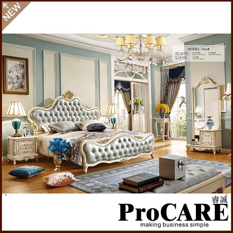 New model bedroom furniture antique luxury royal leather headboard bedroom Furniture Set