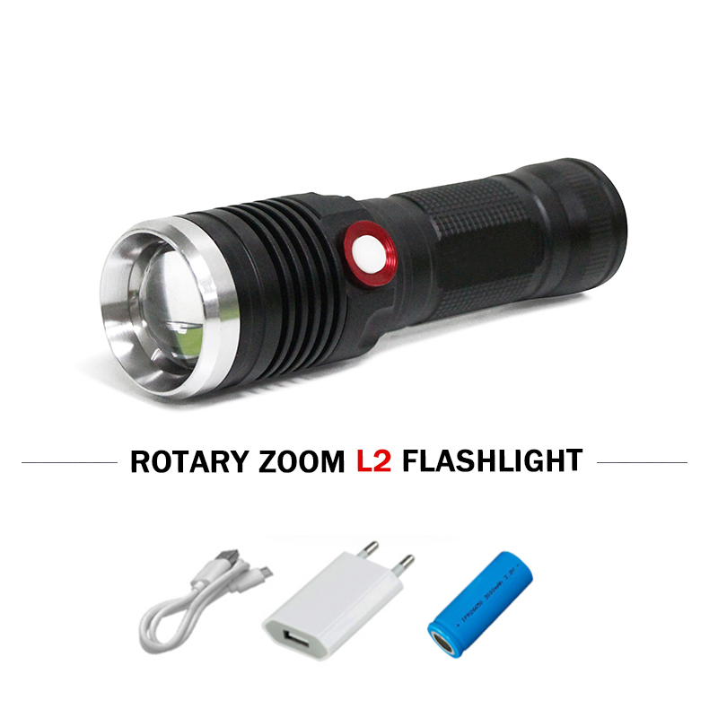 powerful led flashlight zoom lanterna cree xm l2 usb torch waterproof linternas 26650 or 18650 battery camping Hunting zaklamp