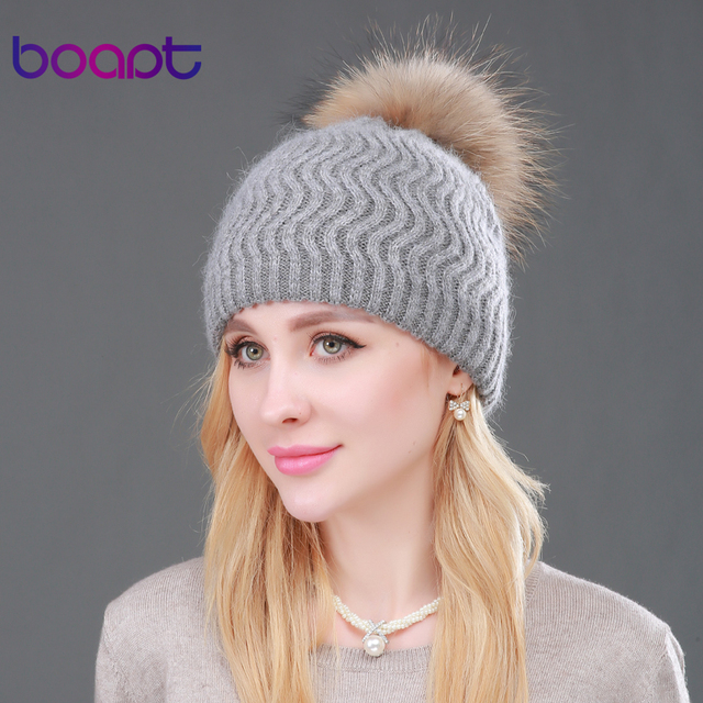 BOAPT Raccoon Fur Winter Double-deck Knitted Stripes Cashmere Wool Skullies Beanies Women Hat Winter Caps Female Pompon Headgear