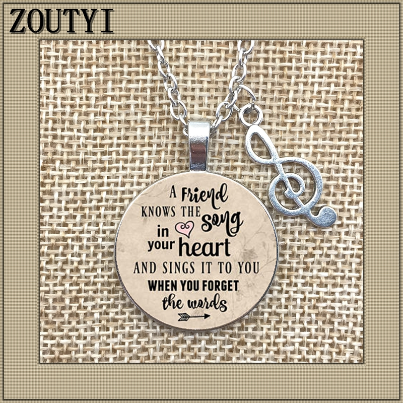 2018/ hot money necklace, inspiring charm necklace, friends know the songs in your heart, sing to you when you forget the words image
