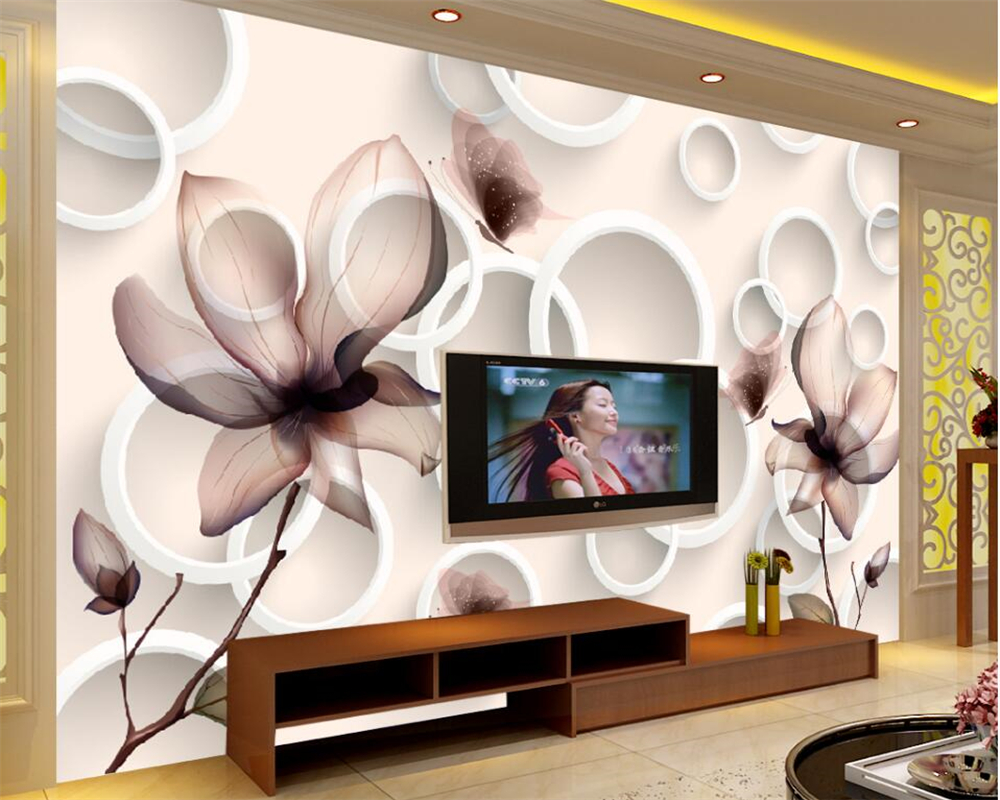 Beibehang wall paper Customize any size 3D wallpaper lily transparent flower circle fashion background wallpaper for walls 3 d миска lily flower g2286 h4266
