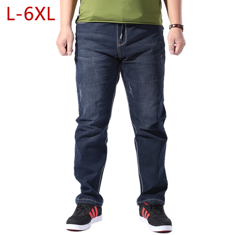 Plus Size L-6XL Men Classic Thin Jeans For Summer 2018 Casual Brand Straight Stretch Skinny Denim Pants Mens Slim Fit Overalls