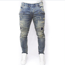 Hot New ripped jeans mens 2016 skinny Distressed slim ankle ZIPPER biker jeans hip hop swag tyga hypegray slim jeans kanye