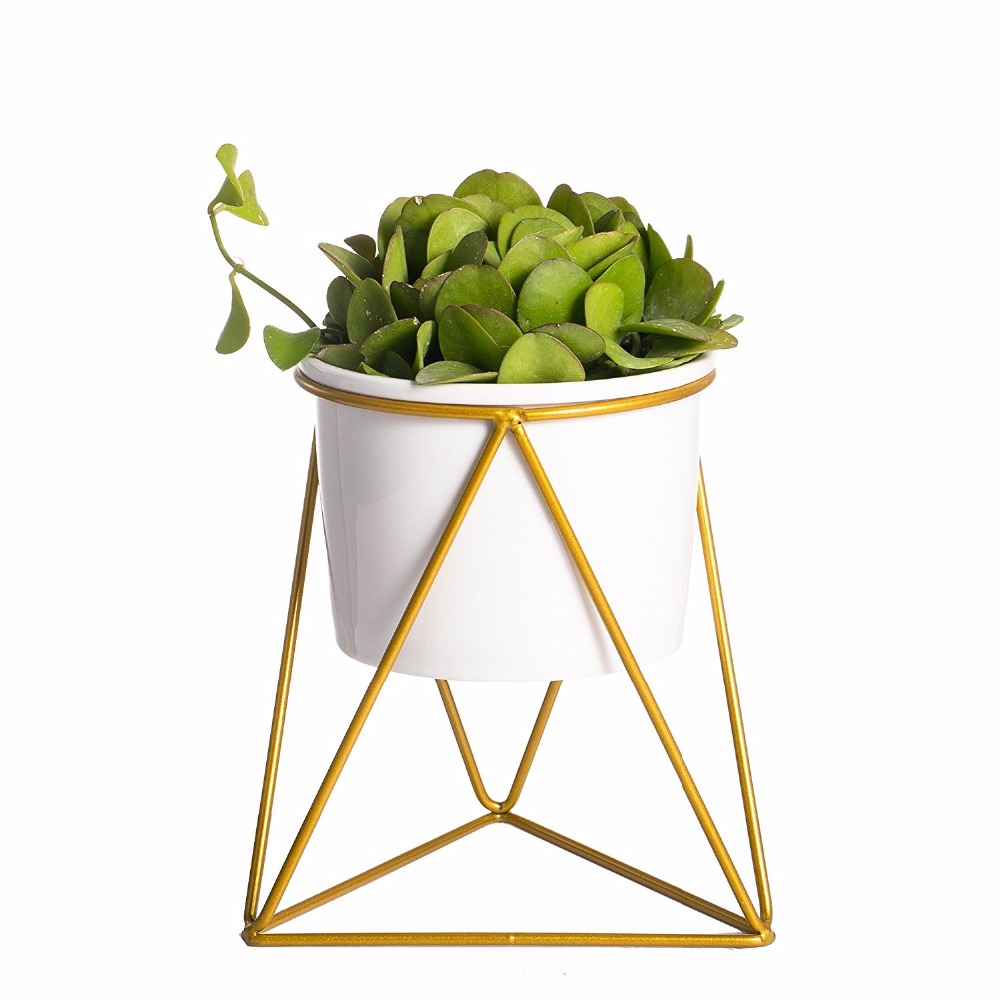 Geometric Iron Rack Holder Metal Stand Gold With White