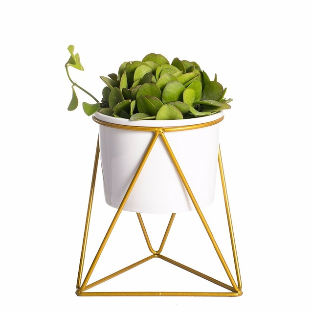 Geometric Iron Rack Holder Metal Stand Gold with White Ceramic Planter Desktop Garden Pot Succulents Plants Modern Decorative
