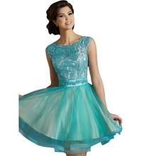 2015 schöne glamorous Homecoming kleider mit o neck wulstige spitze blau tüll mini sherri kleid für partei vestidos