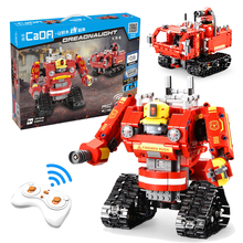 цена на 538pcs City Fire Fighting RC Robot Model Building Blocks Bricks Remote Control Firefighter Trucks Educational Toys For Children
