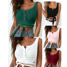 4e4dc7db666dd Women Cami Halter Crop Top Bustier Bralette Vest Cami Bra Summer Bandage  Sleeveless Backless Blouse Button · 5 Colors Available