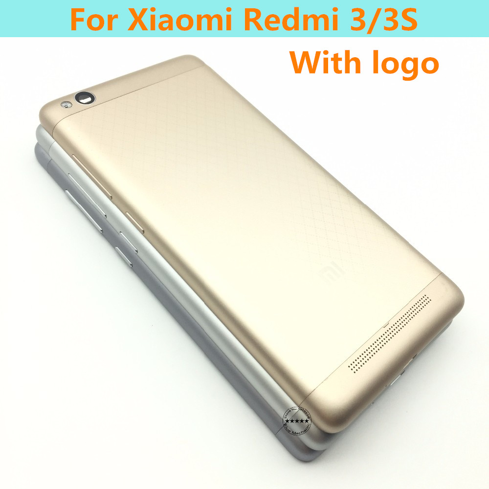 Original Metal Back Shell Housing Door Battery Cover Case For Xiaomi Redmi 3SWith Audio + - Buttons Boot Keys Camera Glass Lenss