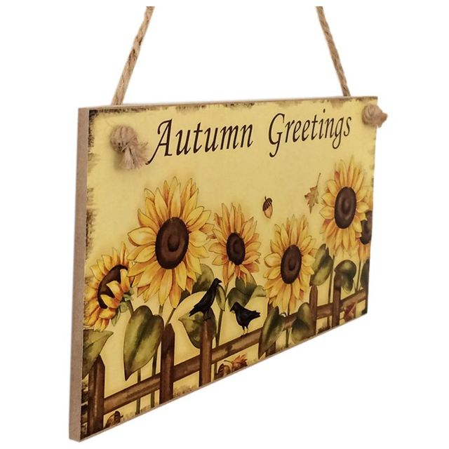 Thanksgiving Wooden Hanging Plaque Autumn Greetings Sign Hanging ...