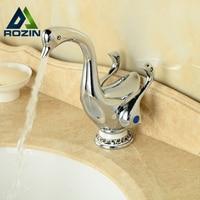 Cute Duck Shape Double Handles Waterfall Bathroom Basin Sink Faucet Deck Mount Brass Vanity Sink Mixer Taps