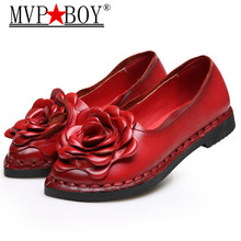MVP BOY 2018 New Vintage Handmade Folk Style Women Flats Casual Shoes Genuine Leather Lady Soft Bottom for Mother Fashion
