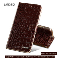 Genuine Leather Case For Xiaomi Redmi 5 Plus Crocodile Texture Flip Case Magnetic Dual Card Slots
